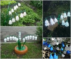floreCorte a parte superior de garrafas de plástico para imitar campânulas (flor de sino)s-de-materiais-reciclados-