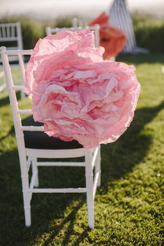 giant paper flower chair decor // event design by Davia Lee Events, photo by Danielle Capito