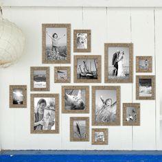 15er Bilderrahmen-Set Strandhaus Rustikal Eiche-Optik Natur Massivholz 10x10 bis 20x30 cm inklusive Zubehör zur Gestaltung einer Collage / Bildergalerie Bilderrahmen Strandhaus