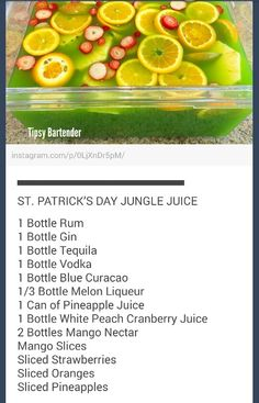 St Patrick's Day Jungle Juice The color reminds me of Hi-C's Ecto Cooler growing up. Ah, and now... an adult version! :)