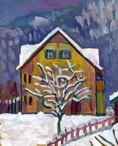 Gabriele Münter (German, 1877-1962), Gelbes Haus mit Schneebäumchen