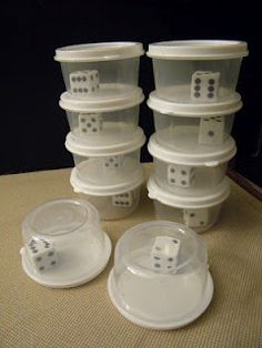 Contain runaway dice for the classroom! I've used Gerber baby food containers for my dice but never thought of gluing them into the containers! No scattering! Math Games, Math Activities, Maths, Dice Games, Christian Classroom, Baby Food Containers, Cereal Containers, Teachers Corner, Gerber Baby