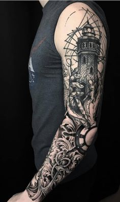 35 Cool Sleeve Tattoos For Men & Women - 35 Cool Sleeve Tattoos For Men & Women - Nautical Tattoo Sleeve, Black Sleeve Tattoo, Tattoos For Women Half Sleeve, Full Sleeve Tattoos, Tattoo Sleeve Designs, Navy Tattoos, Hot Tattoos, Body Art Tattoos, Tattoos For Guys