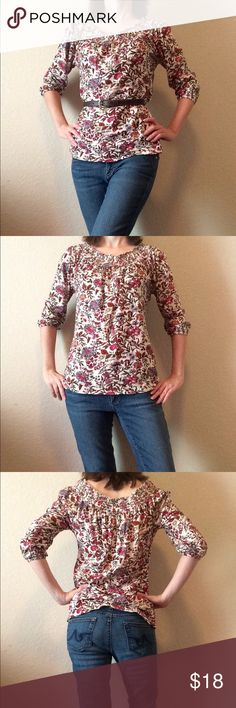 "Lucky Brand 3/4 sleeve floral peasant blouse This auction is for a Lucky Brand top. The background is beige and the pattern has lots of colors, though the predominant color is a dark pink. Looks cute belted with jeans or with a skirt. It's a small, but because of the style there's some leeway with the fit. For reference, model is 5'4"" and a size 2. Very nicely made and only worn once or twice. Lucky Brand Tops Blouses"