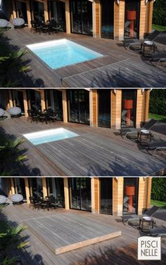 Pool Custom rolling deck equipped pools - house decorations Z Mesh, An Innovative Floor Heating Syst Amazing Swimming Pools, Swimming Pool Designs, Cool Pools, Hidden Swimming Pools, Small Backyard Pools, Small Pools, Outdoor Pool, Small Pool Ideas, Outdoor Showers