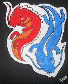 red and blue dragons by zefiro viera almasy