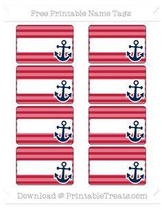 Free Cardinal Red Horizontal Striped Nautical Name Tags - Nautical Baby Names - Ideas of Nautical Baby Names - Free Cardinal Red Horizontal Striped Nautical Name Tags