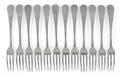 A Set of Twelve George II Silver Three-Prong Table Forks, Paul Callard, London 1751, Hanoverian pattern, crested, 19cm long, 25oz 4dwt - Price Estimate: £1000 - £1200 | Tennants