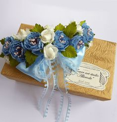 Handmade blue fabric flowers white little roses by Flowerartstudio, $40.00