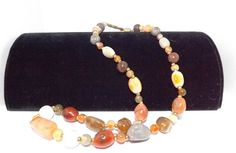 24 inch long vintage multi-colored agate necklace