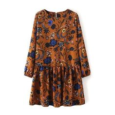 Floral Long Sleeve Drop Waist Dress (€20) ❤ liked on Polyvore featuring dresses, floral day dress, flower pattern dress, waist dress, floral dresses and flower printed dress