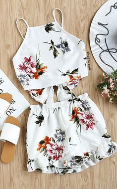 women set on sale at reasonable prices, buy SHEIN Two Piece Set Top and Shorts Summer 2017 Womens Set White Floral Sleeveless Tie Back Cami Top and Ruffle Trim Shorts from mobile site on Aliexpress Now! Style Outfits, Mode Outfits, Casual Outfits, Fashion Outfits, Womens Fashion, Cami Tops, Cute Summer Outfits, Outfits For Teens, Two Piece Outfit