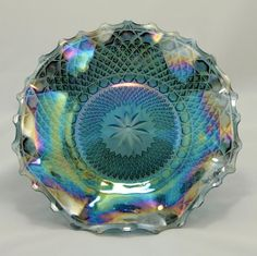 Indiana Blue Carnival Glass Hostess Platter