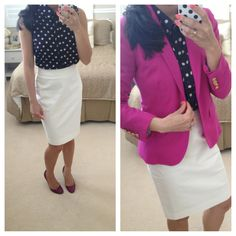 white pencil skirt outfit, polka dots, fashion, color combo, skirt combo, cloth, pink blazer, pencil skirts, work outfits
