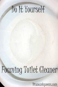 Do It Yourself Foaming Toilet Cleaner!--pour in toilet 1 c. Baking soda then 3c. Vinegar, let sit 30 min, scrub, done!