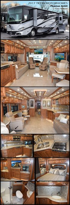 Remarkable in every way, the 2017 Tiffin Motorhomes Phaeton 36GH Class A Diesel Pusher brings the pampered comfort of first-class travel to the open road. From its five-star bedroom suite to chef-friendly kitchen, this elegantly appointed coach is a showcase of luxury, loaded with thoughtful amenities to maximize fun on the go. You will feel spoiled with this spacious floor plan, offering 7' ceiling, four slides, ultra-leather upholstery, handcrafted hardwood cabinetry and porcelain tile…