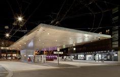 Busdach, Winterthur – Tuchschmid, AUskragung 34m, Stahlkonstruktion, Lochblech Winterthur, Public Transport, Transportation, Buildings, Steel Roofing, Perforated Metal