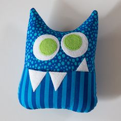 Tooth Fairy Pillow  Personalized Monster in Blue and Green