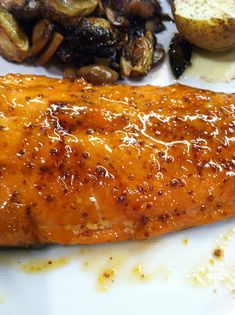 Apricot-Dijon Glazed Salmon.  Quick, easy, and if paired with some veggies and other healthy sides a nice meal.