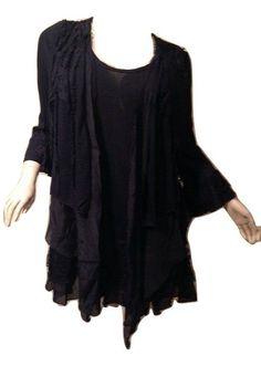 Pretty Angel PLUS SIZE 3X, Vintage Blouse In Black *10552BK NWT #PrettyAngel #Blouse #BohoVintage
