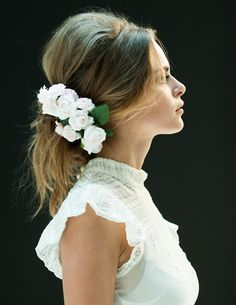 Floral accessories for mid-length hair.  (Lovely white lace top.)