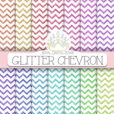"Glitter Digital Paper: "" Glitter Chevron Digital Paper"" with glitter chevron backgrounds in rainbow, pastel colors for scrapbooking, cards #glitter #colorful #planner"