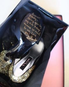 This bride wrote notes to each of her bridesmaids on the bottoms of their shoes