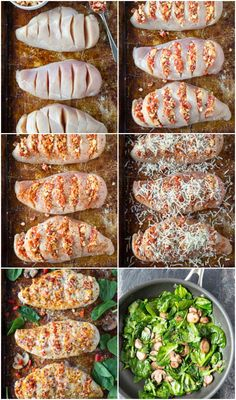 Smothered Hasselback Chicken -Talk about TASTY! Every bite of this quick and easy chicken dish is full of savory goodness. Roasted red peppers and feta are stuffed into slits made on the top of the… Healthy Dinner Recipes, Diet Recipes, Healthy Snacks, Breakfast Recipes, Healthy Eating, Cooking Recipes, Clean Eating, Healthy Meals With Chicken, Stuffed Chicken Recipes