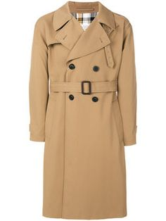 plaid back trench coat