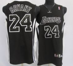 Los Angeles Lakers #24 Kobe Bryant All Black With White Swingman Jersey