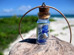 Hawaiian Cobalt & Cornflower Blue Beach Glass and Blue and White Beach Pottery in Treasure Bottle on India Leather Necklace by LindseysBeachGlass, $39.00