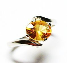 Heliodor ring solitaire ring yellow ring Bell of by Michaelangelas, $49.50