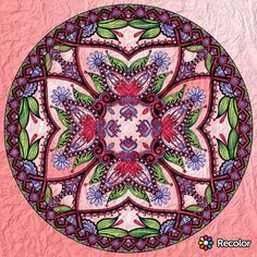 Cherry Pink & Lilac Mandala; Gradient colors with crumpled paper effect