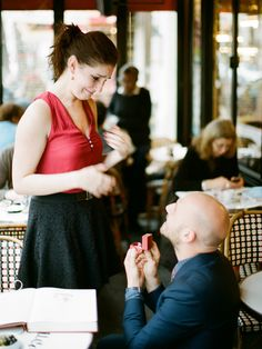 Surprise Proposal -- read the story here: http://www.StyleMePretty.com/2014/05/15/parisian-montmartre-proposal/ Photography: GregFinck.com