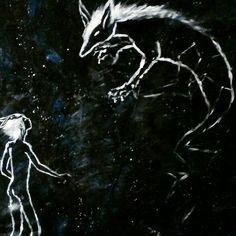 """Angelehnt an #chiarabautista. Eine unglaublich gute Zeichnerin. Ich liebe ihre Bilder <3 """"Good evening, little light"""", said the night sky to the moon"""