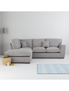 Rio Fabric Left-Hand Corner Chaise Sofa in Grey or Oatmeal87 x 244 x 211 cmChenille fabricThis British-made sofa is wrapped in a hard-wearing with a hearty texture and superb durability that makes it ideal for use in busy homes.Soft huesThe neutral, on-trend choice of go-with-everything grey or oatmeal will slide neatly into your existing colour scheme. Both options contrast against dark wooden feet.Cushioned comfort Removable seats combine supportive foam and soft fibre, while reversible…