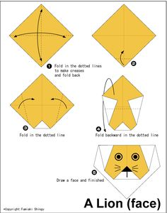 Lion(face) - Easy Origami instructions For Kids