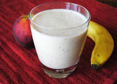 #SexyShredRecipes Low Fat Peach and Banana Smoothie - Recipe Treasure | No sugar. Use a milk alternative. Fat-free plain Greek yogurt.
