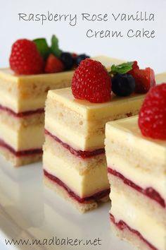Raspberry Rose Vanilla Cream Cake