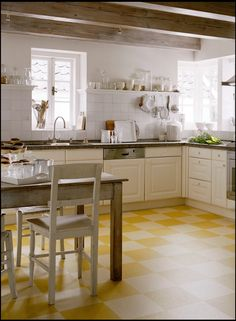 Yellow Vinyl Tile Flooring In Modern Small Kitchen Design With L Shaped Wooden Kitchen Cabinets In White Finish Which Has Gray Marble Granite Countertop And White Tiled Backsplash. This picture is one of many ideas on 15 vintage kitchen flooring ideas. Linoleum Kitchen Floors, Vinyl Tile Flooring, Vinyl Linoleum, Painting Linoleum, Kitchen Tiles, Küchen Design, Floor Design, Design Ideas, Design Trends