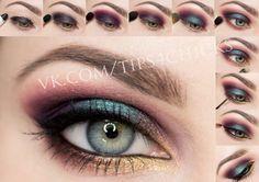 Plum and blue makeup tutorial