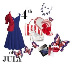"""4th of July"" by sana-emara ❤ liked on Polyvore featuring Dolce&Gabbana, Halston, Fratelli Karida, Burberry, Laura Lee, Oscar de la Renta, redwhiteandblue and july4th"