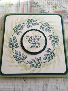 Homemade Birthday Cards, Homemade Cards, Cricut Cards, Stampin Up Cards, Scrapbook Cards, Scrapbooking, Forever Green, Leaf Cards, Friendship Cards