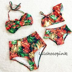 Tropical breeze print feel like in Hawaii Mommy high waisted bathing suit size S to L Kids size: 2(12mo-3T), 4(3-5T), 6(5-7T)  Please leave us note for kids size you need when place an order  Material:100%polyester Imported products