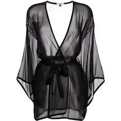 Gilda & Pearl Ava Kimono (16,195 PHP) ❤ liked on Polyvore featuring intimates, robes, black, silk kimono robe, lingerie robe, lingerie kimono, kimono lingerie and silk kimono