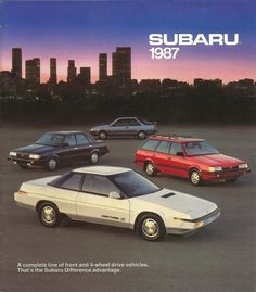 (Don: Bought Gary S. Subaru in about 1990.Nice car).  Subaru 1987 Full Model Line Brochure. What a year!