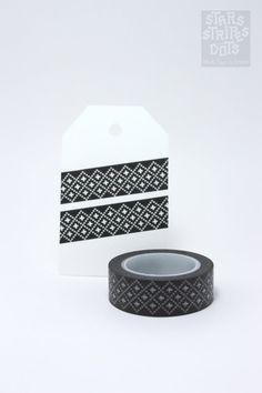 black and white WASHI TAPE embroidery by StarsStripesAndDots, €2.49