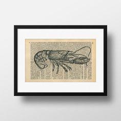Lobster Dictionary Art  Art print on by FramedBooksArt on Etsy