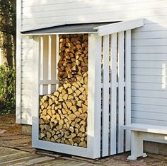 outdoor firewood rack - Check out these super easy DIY outdoor firewood racks. You can store your wood clean and dry and it allows you to buy wood in bulk, saving you money. Outdoor Firewood Rack, Firewood Shed, Firewood Storage, Outdoor Storage, Cheap Firewood, Patio Storage, Wood Store, Building A Shed, Outdoor Living