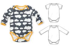 One piece sewing pattern pdf, long and short sleeve, sizes Preemie to 3T, photo tutorial -Pattern 9